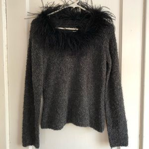 Knit sweater top w/ Maribou feathers